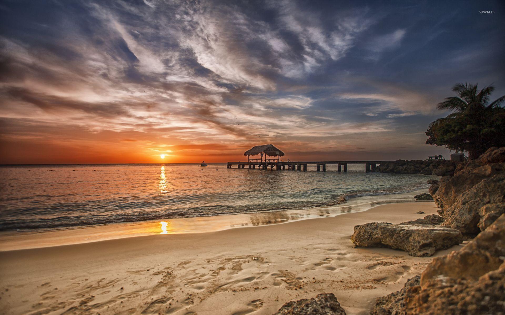 Amazing Sunset Over The Caribbean Beach Wallpaper Beach