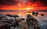 Amazing sunset shades mixing on the wet beach wallpaper 1920x1200 jpg