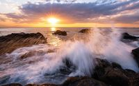 Angry waves in the sunset wallpaper 1920x1080 jpg