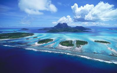 Ariel view of Bora Bora wallpaper
