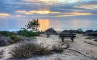 Bench facing the ocean sunset wallpaper 2560x1600 jpg