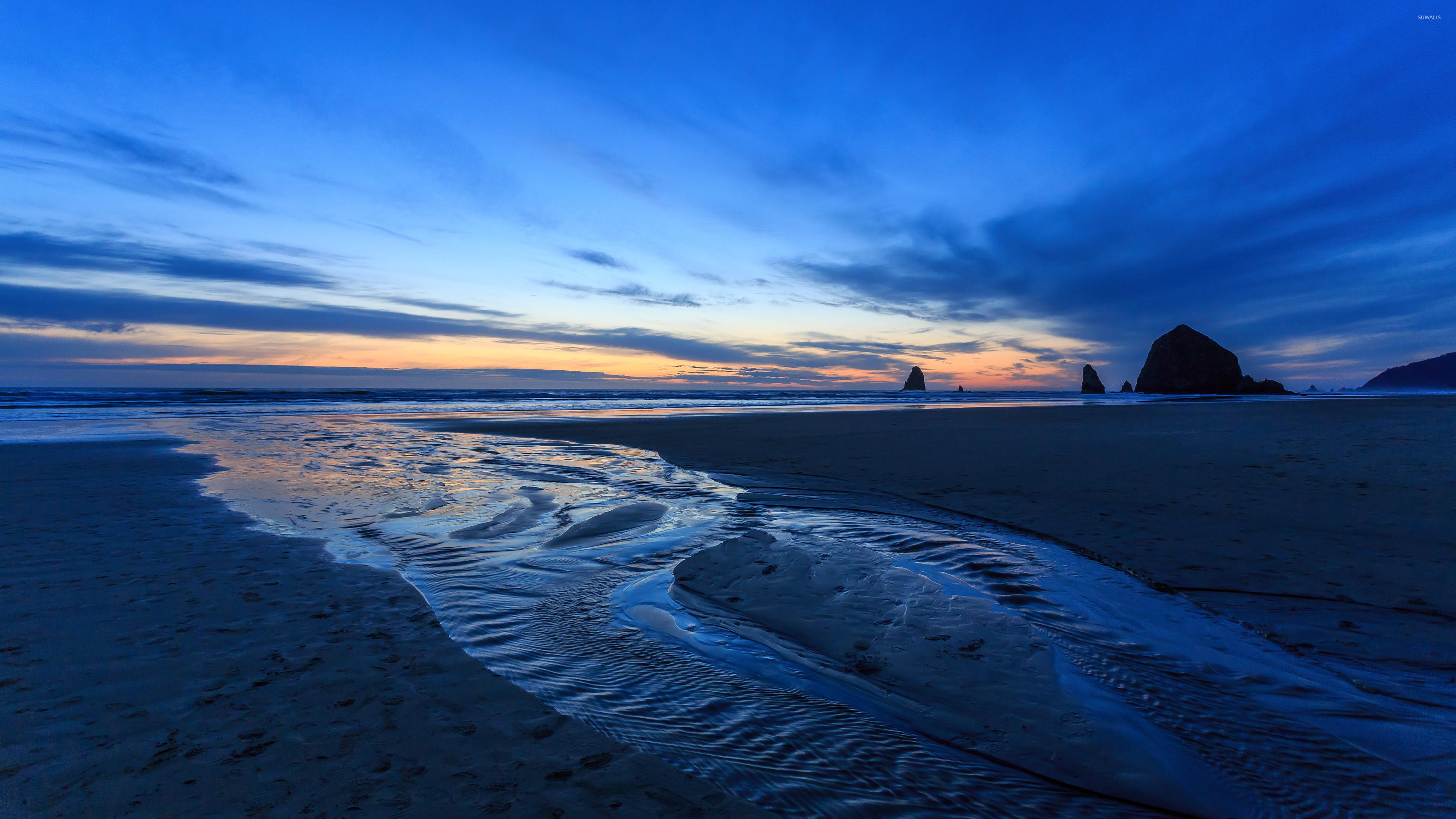Blue ocean sunset wallpaper - Beach wallpapers - #40199