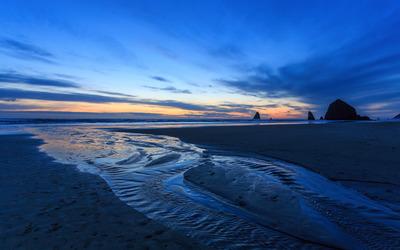 Blue ocean sunset wallpaper