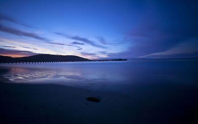 Blue sunset on the beach wallpaper