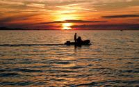 Boat cruising at sunset [2] wallpaper 1920x1080 jpg