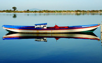 Boat reflected in the river wallpaper 1920x1200 jpg