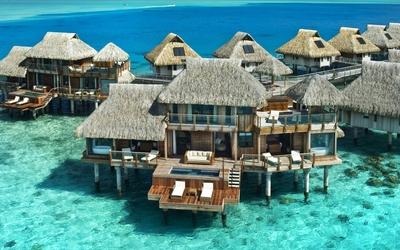 Bora Bora resort above the water wallpaper