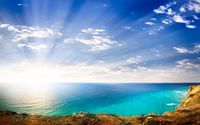 Bright sun shining over the splendid coastline wallpaper 2560x1600 jpg