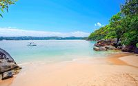 Clear sky over sandy beach in a small bay wallpaper 2560x1600 jpg