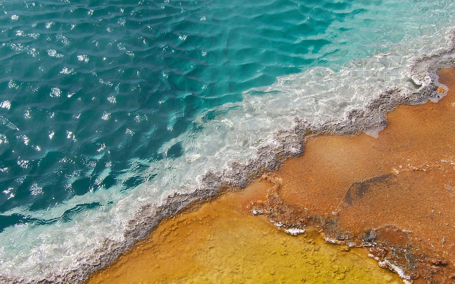 Colorful sand in the blue ocean wallpaper - Beach ...