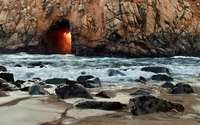 Doorway to the bright light in Pfeiffer Beach wallpaper 1920x1200 jpg