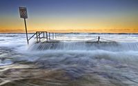 Flooded pier at sunset wallpaper 1920x1200 jpg