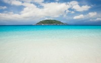 Fluffy clouds above the island near the sandy beach wallpaper 1920x1200 jpg