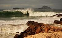 Foamy wave splashing on the rocky shore [3] wallpaper 1920x1200 jpg