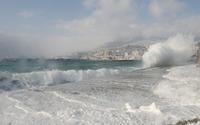 Foamy waves splashing on the dam wallpaper 3840x2160 jpg