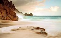 Foggy beach at sunset wallpaper 1920x1200 jpg