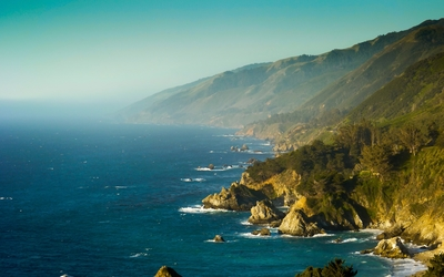 Foggy Big Sur coastline at sunrise wallpaper