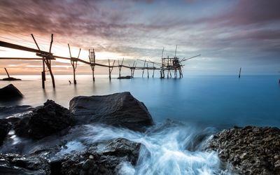 Fragile pier to the ocean Wallpaper