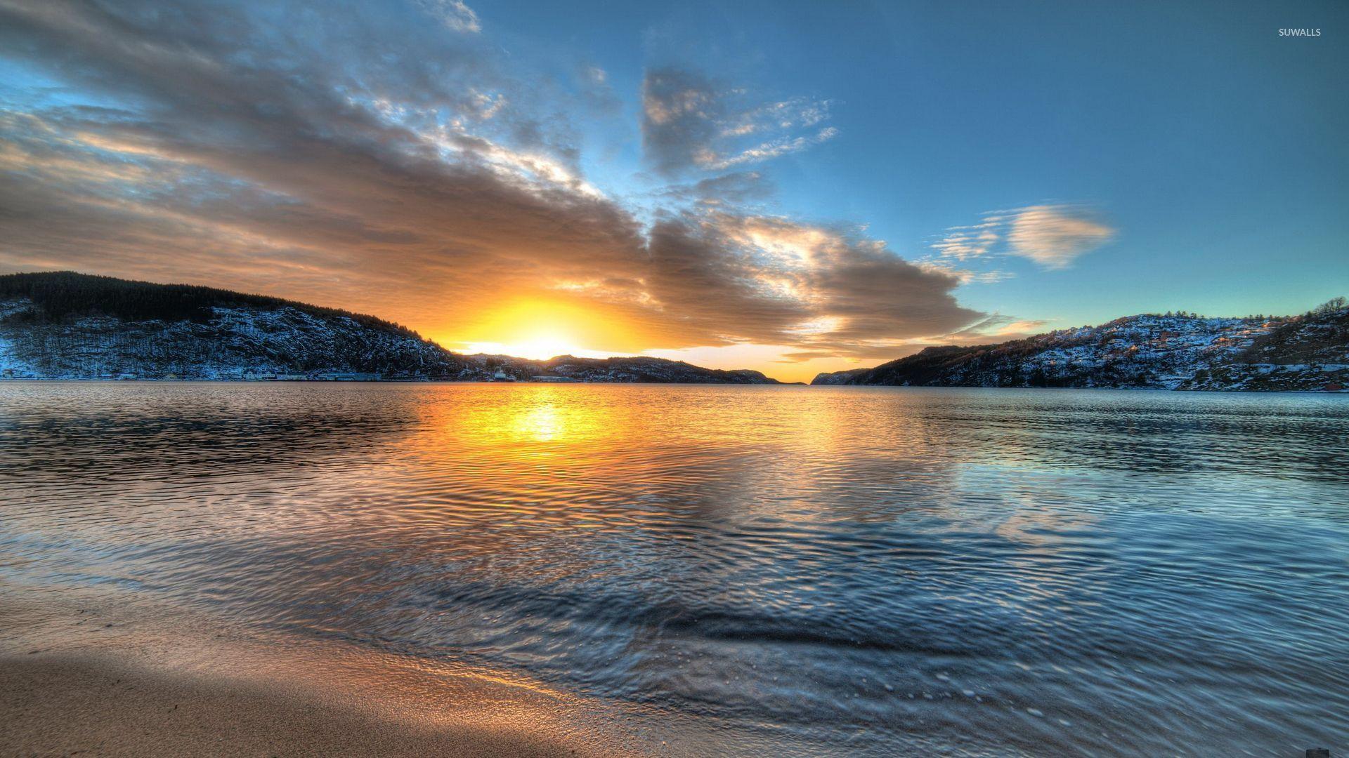 Golden Sunset On The Beach Wallpaper