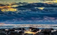 Golden sunset over the rocky beach [2] wallpaper 1920x1200 jpg