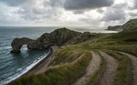 Heavy clouds above Durdle Door wallpaper 2560x1600 jpg