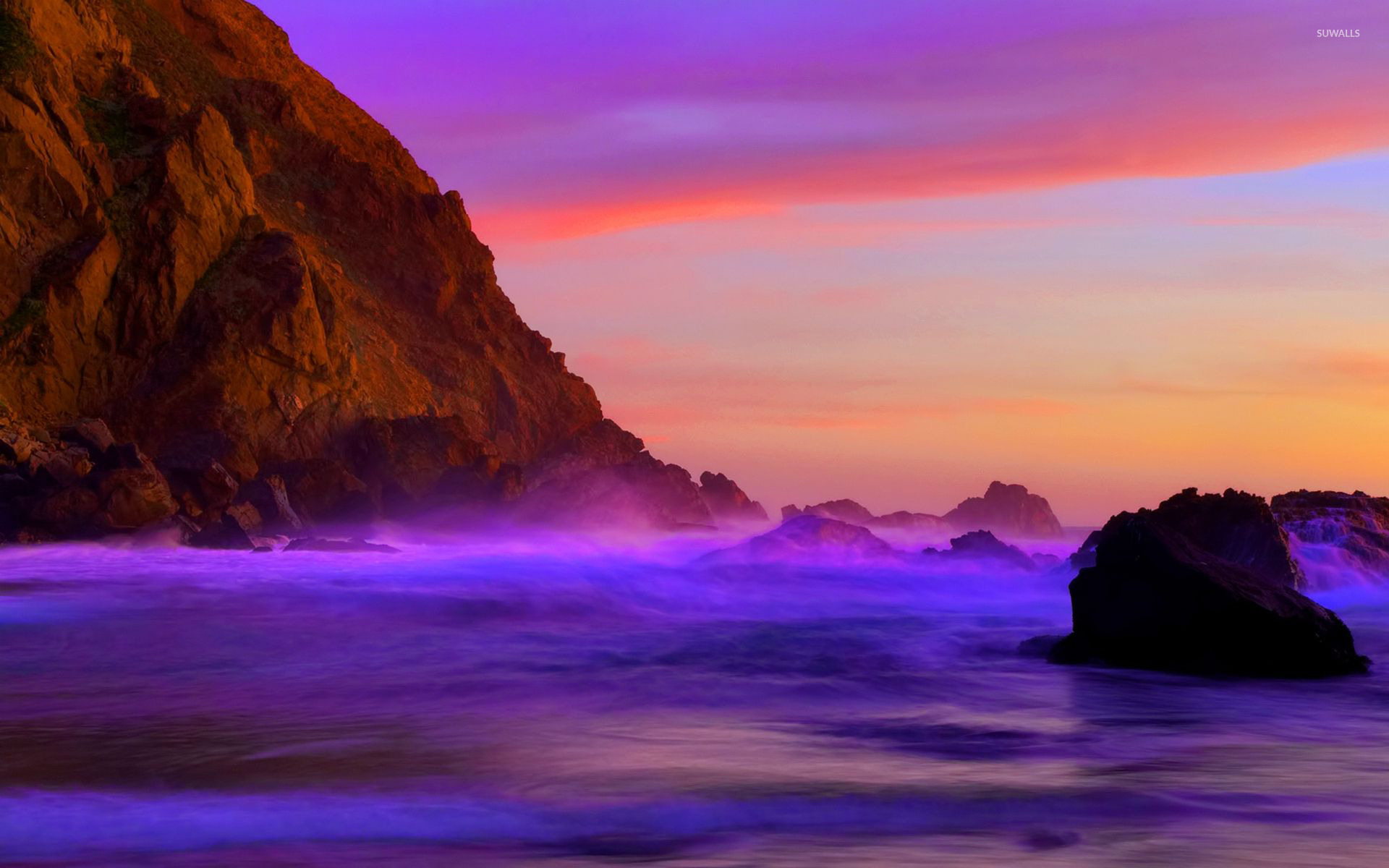 Theme for OPPO F Pro purple sky sea wallpaper for Android APK