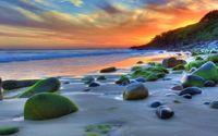 Mossy rocks on the beach wallpaper 1920x1080 jpg
