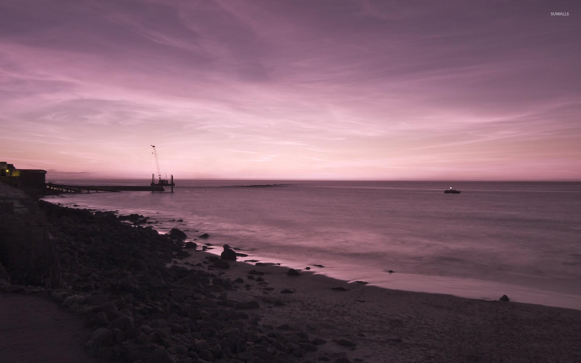 Ocean Purple Sunset Wallpaper Beach Wallpapers 39900
