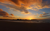 Orange sunset clouds above the sandy beach wallpaper 2560x1600 jpg