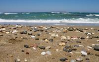 Pebbles on the sandy beach wallpaper 2880x1800 jpg