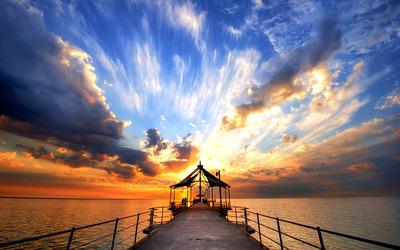 Pier at dusk wallpaper