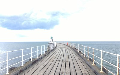 Pier in Whitby harbour, England wallpaper