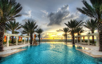 Pool in a resort by the ocean wallpaper 2560x1600 jpg
