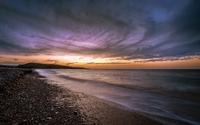 Purple clouds over the ocean wallpaper 2560x1600 jpg