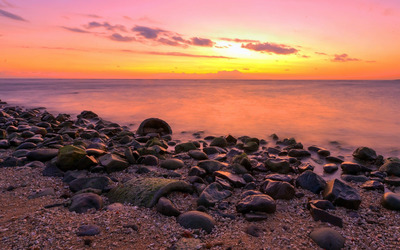 Purple rocks at sunset wallpaper