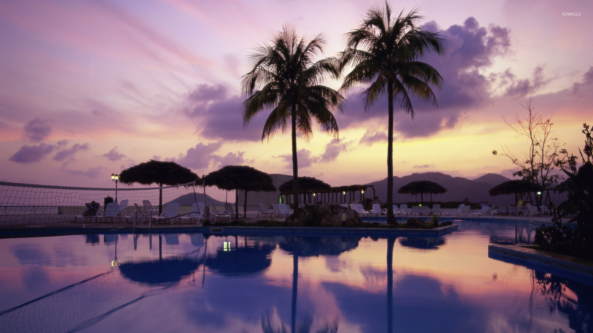Beach Resort Wallpaper 21: Purple Sunset Over The Resort Wallpaper