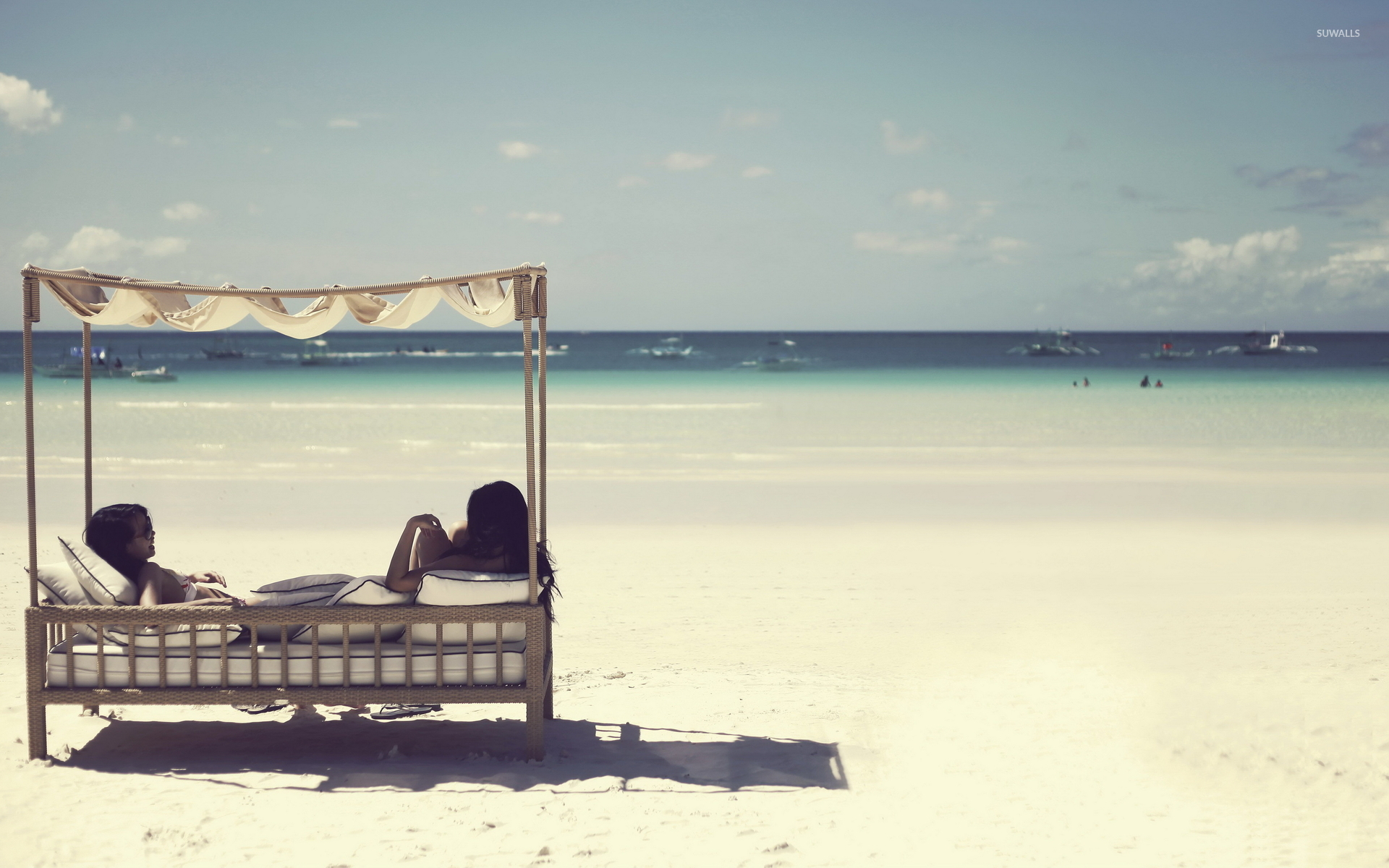 Relaxing On A Sunny Day By The Ocean Wallpaper Beach