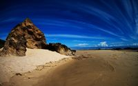 Rock on sandy beach wallpaper 1920x1200 jpg