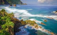 Rocks in the ocean near the exotic island wallpaper 2560x1600 jpg