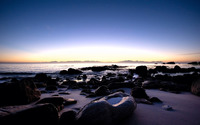 Rocky beach at sunset wallpaper 1920x1200 jpg