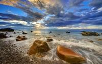 Rusty rocks in the sunset ocean wallpaper 1920x1200 jpg