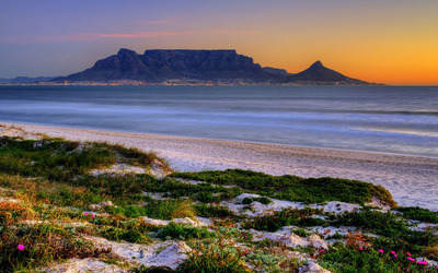 Sandy beach at sunset near Cape Town wallpaper