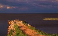 Soil pier on the lake wallpaper 3840x2160 jpg