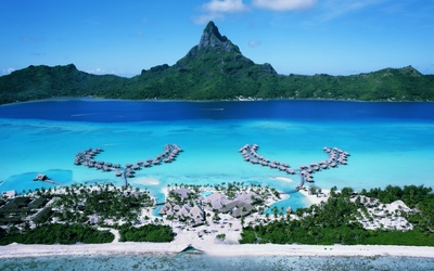 Splendid tropical resort in Bora Bora wallpaper