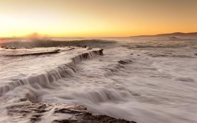 Stairway water falling at sunset Wallpaper
