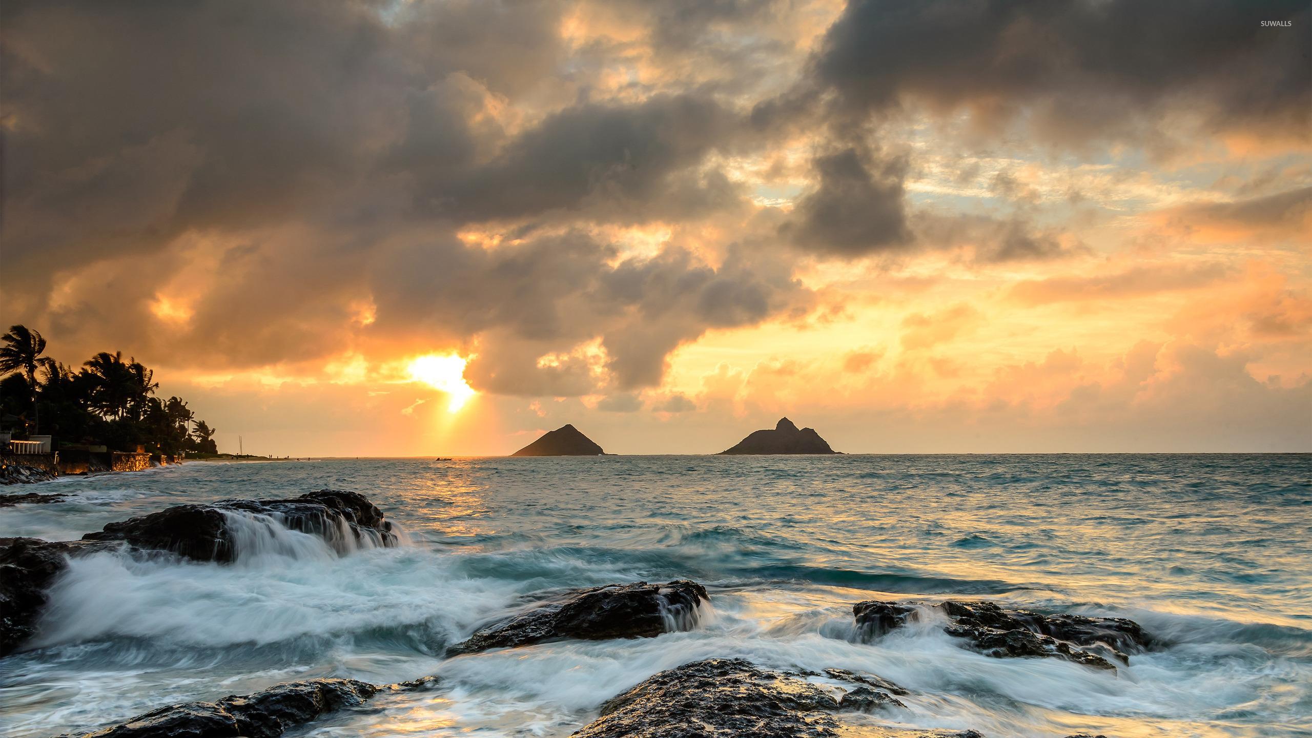 Sunrise At Lanikai Point, Hawaii Wallpaper
