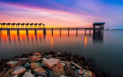 Sunset by the pier Wallpaper
