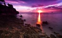 Sunset light merging with the ocean wallpaper 1920x1200 jpg