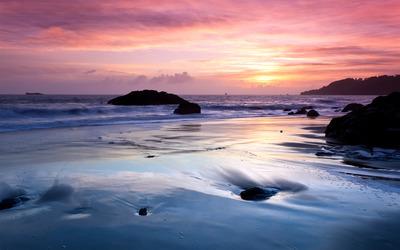 Sunset on the beach [4] wallpaper
