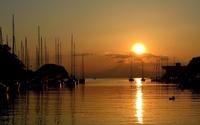 Sunset over the harbour wallpaper 1920x1200 jpg